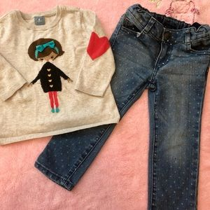 🦄2t Girls Baby Gap Sweater and crazy 8 jeans